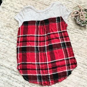 Almost Famous Short Sleeve Sweater Plaid Back M